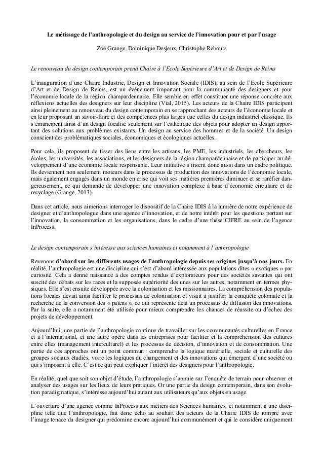 Le métissage de l'anthropologie et du design au service de l'innovation pour et par l'usage Zoé Grange, Dominique Desjeux,...