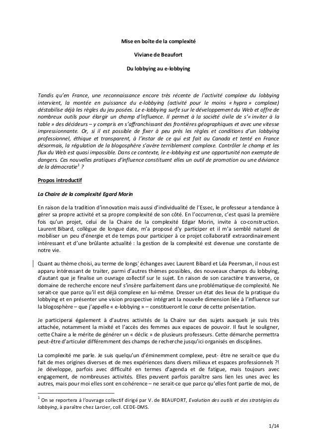 1/14 Miseenboîtedelacomplexité VivianedeBeaufort Dulobbyingaue‐lobbying  Tandis qu'en France, une recon...