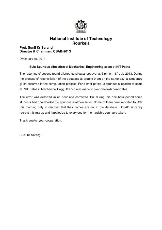 National Institute of Technology Rourkela Prof. Sunil Kr Sarangi Director & Chairman, CSAB-2013 Date: July 19, 2013. Sub: ...