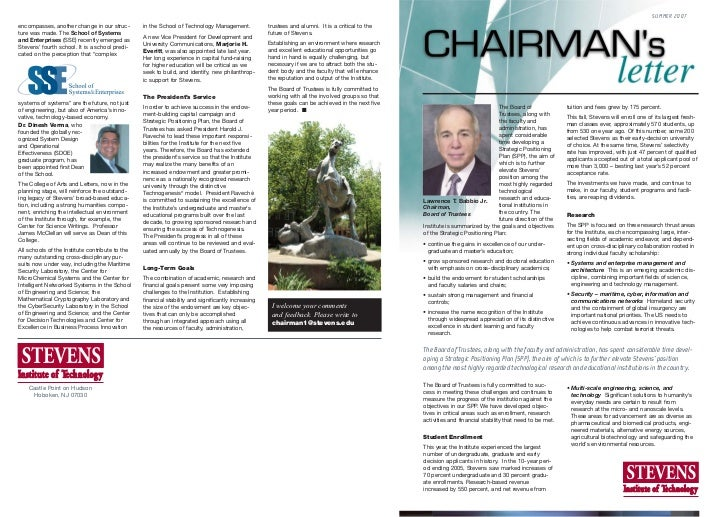 SUMMER 2007encompasses, another change in our struc-        in the School of Technology Management.            trustees an...