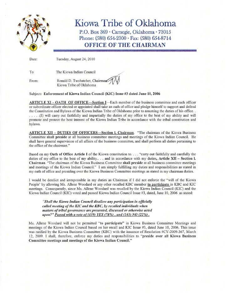 Chairmans letter to kic 8 25-10