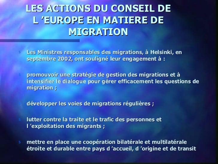 Les actions du Conseil de l'europe en matière de migration Slide 2
