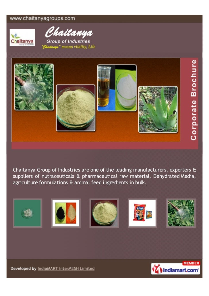 Chaitanya Group of Industries are one of the leading manufacturers, exporters &suppliers of nutraceuticals & pharmaceutica...