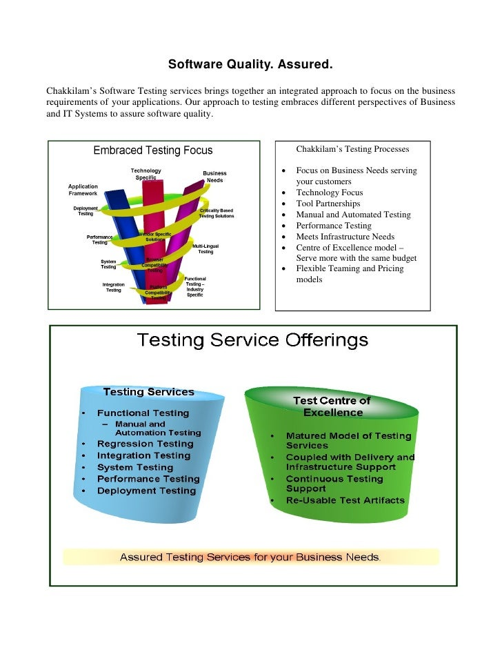 Software Quality. Assured. Chakkilam's Software Testing services brings together an integrated approach to focus on the bu...