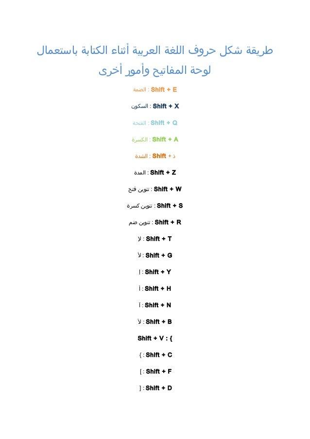 طريقة شكل حروف اللغة العربية أثناء الكتابة باستعمال لوحة المفاتيح وأم