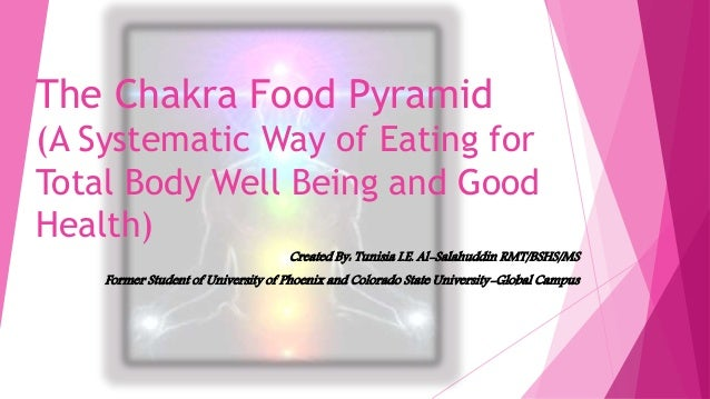 The Chakra Food Pyramid (A Systematic Way of Eating for Total Body Well Being and Good Health) Created By: Tunisia I.E. Al...