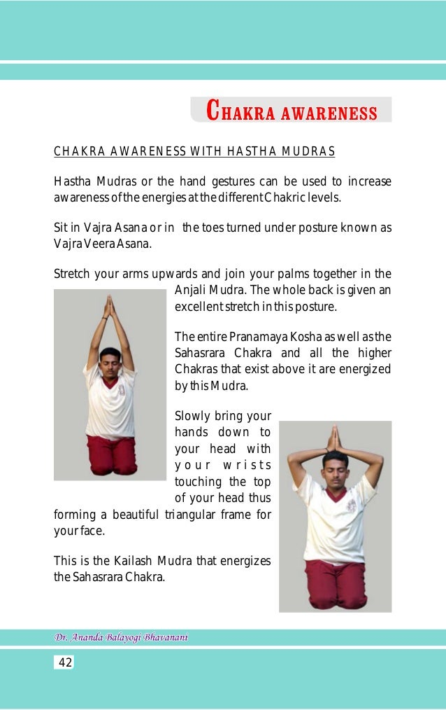 When the hands are brought down from  the Kailash Mudra and placed in front of  the forehead we can energize our Ajna  Cha...