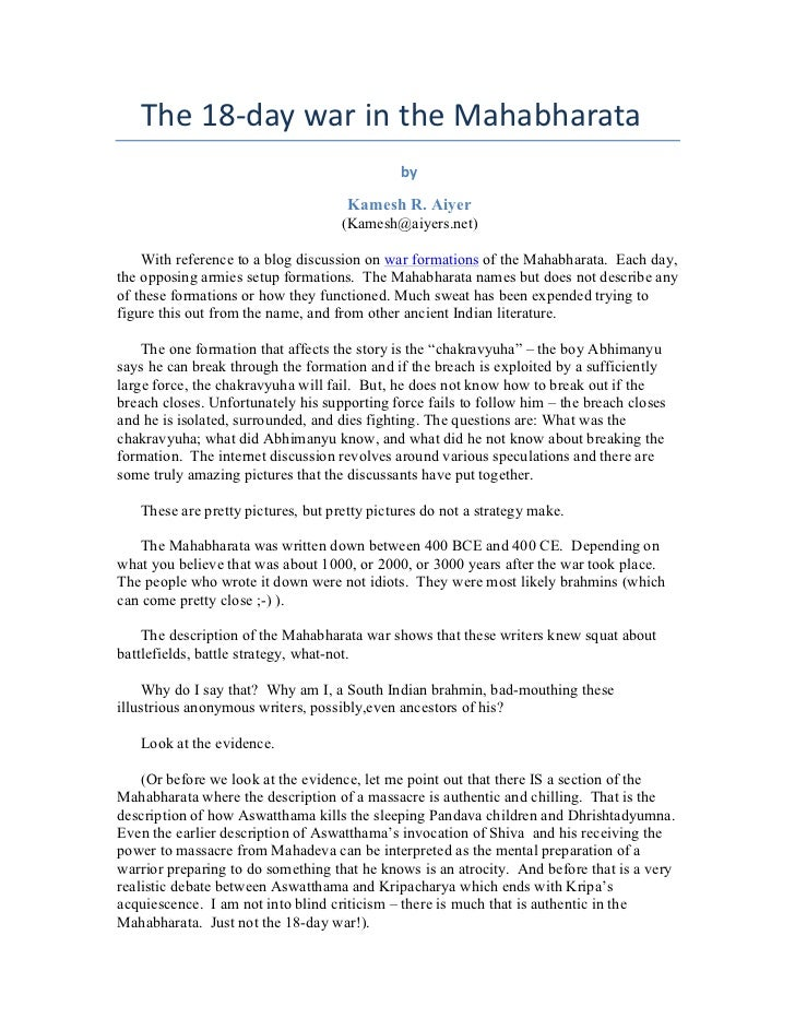 The 18-‐day war in the Mahabharata                                               by                        ...