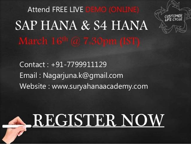 REGISTER NOW Attend FREE LIVE DEMO (ONLINE) SAP HANA & S4 HANA March 16th