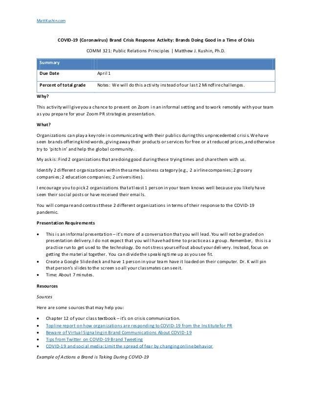 MattKushin.com COVID-19 (Coronavirus) Brand Crisis Response Activity: Brands Doing Good in a Time of Crisis COMM 321: Publ...