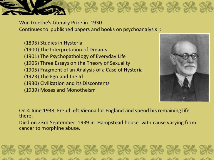 sigmund freud 8 essay Suggested essay topics and study questions for 's sigmund freud perfect for students who have to write sigmund freud essays.