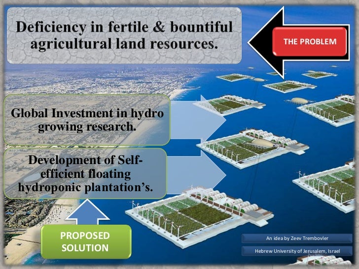 THE PROBLEMGlobal Investment in hydro    growing research.  Development of Self-    efficient floating hydroponic plantati...