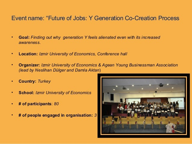 """Event name: """"Future of Jobs: Y Generation Co-Creation Process• Goal: Finding out why generation Y feels alienated even wit..."""
