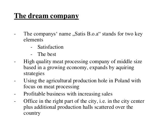"""The dream company-   The companys' name """"Satis B.o.a"""" stands for two key    elements        - Satisfaction        - The be..."""