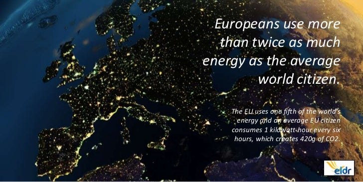Europeans use more   than twice as muchenergy as the average         world citizen.    The EU uses one fifth of the world'...