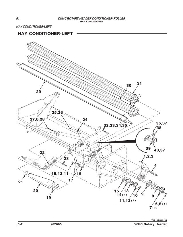 Challenger dkhc rotary header conditioner roller parts manual