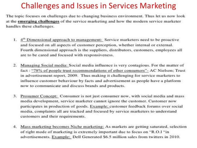 problems and strategies in services marketing Marketing plan outline  market into major segments so that you can tailor marketing strategies to a particular segment's problems, needs or wants.