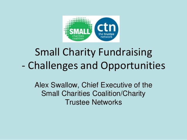 Small Charity Fundraising- Challenges and Opportunities  Alex Swallow, Chief Executive of the    Small Charities Coalition...