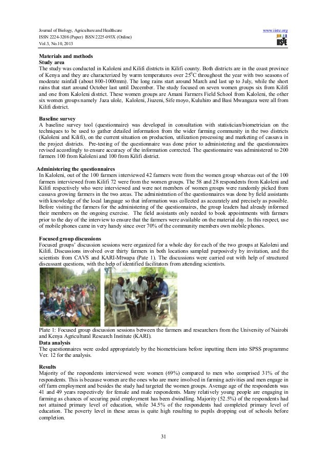 Challenges and opportunities in cassava production among the rural households in kilifi county in the coastal region of kenya Slide 2
