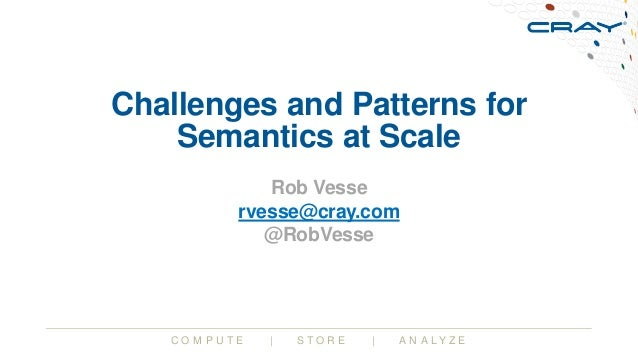 C O M P U T E | S T O R E | A N A L Y Z E Challenges and Patterns for Semantics at Scale Rob Vesse rvesse@cray.com @RobVes...