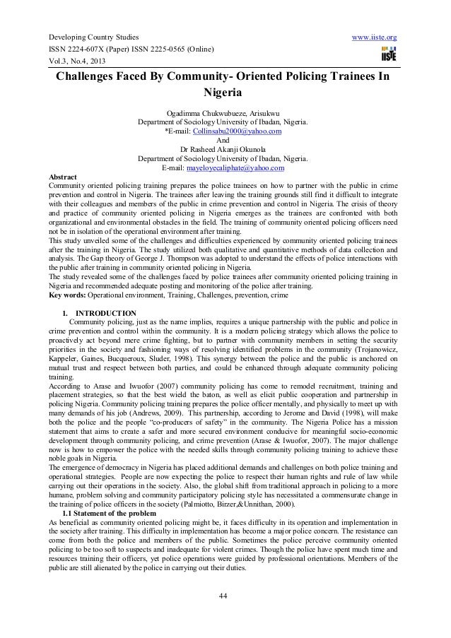 Developing Country Studies www.iiste.orgISSN 2224-607X (Paper) ISSN 2225-0565 (Online)Vol.3, No.4, 201344Challenges Faced ...
