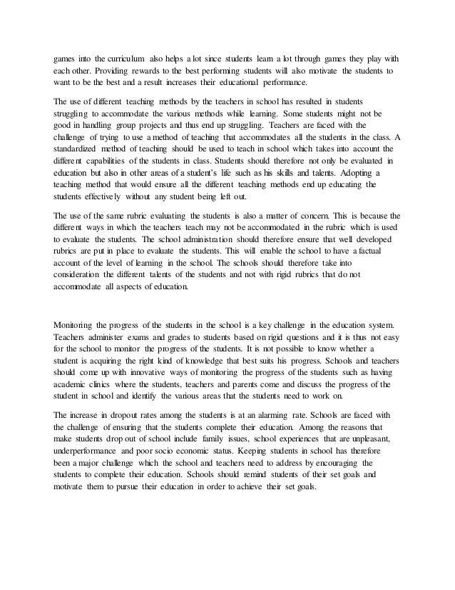 challenges in high school essay