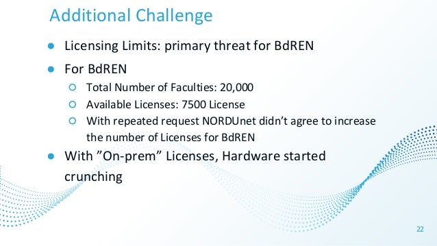 Additional Challenge ● Licensing Limits: primary threat for BdREN ● For BdREN ○ Total Number of Faculties: 20,000 ○ Availa...