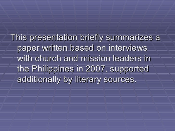 christianity in the philippines Christianity in the local context southern  toward an anthropology of local christianity howell  southern baptists to the northern philippines howell.