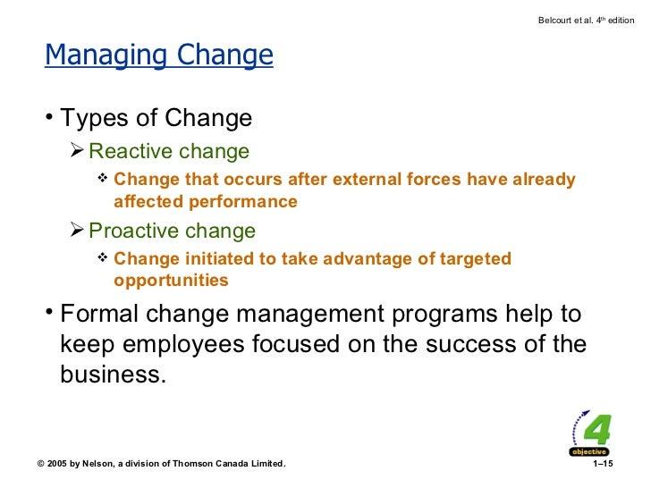 Managing Change <ul><li>Types of Change </li></ul><ul><ul><li>Reactive change </li></ul></ul><ul><ul><ul><li>Change that o...