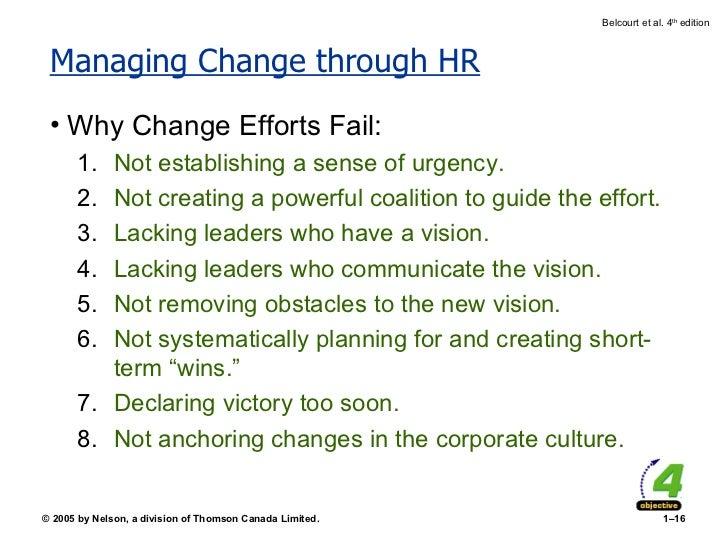 Managing Change through HR <ul><li>Why Change Efforts Fail: </li></ul><ul><ul><li>Not establishing a sense of urgency. </l...