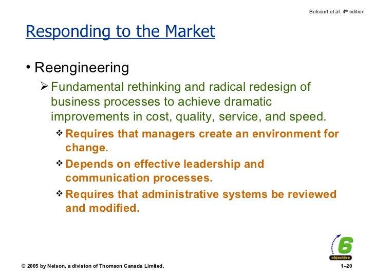 Responding to the Market <ul><li>Reengineering </li></ul><ul><ul><li>Fundamental rethinking and radical redesign of busine...