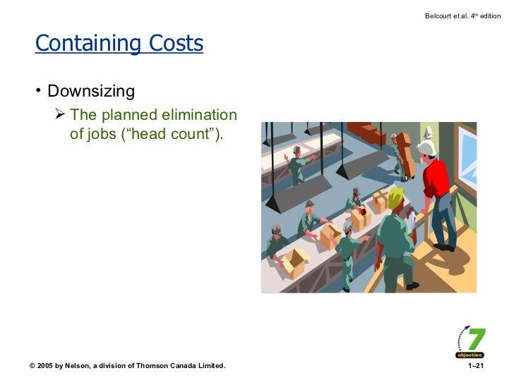 "Containing Costs <ul><li>Downsizing </li></ul><ul><ul><li>The planned elimination of jobs (""head count""). </li></ul></ul>"
