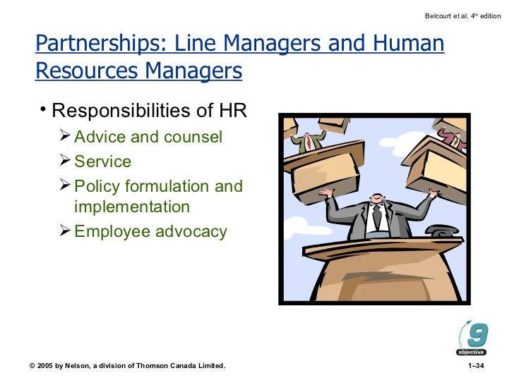 Partnerships: Line Managers and Human Resources Managers <ul><li>Responsibilities of HR </li></ul><ul><ul><li>Advice and c...