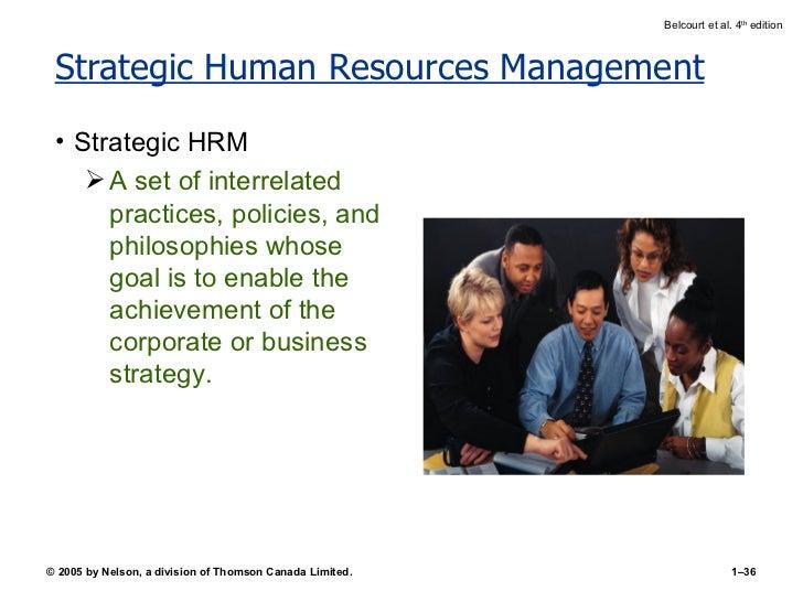 Strategic Human Resources Management <ul><li>Strategic HRM </li></ul><ul><ul><li>A set of interrelated practices, policies...