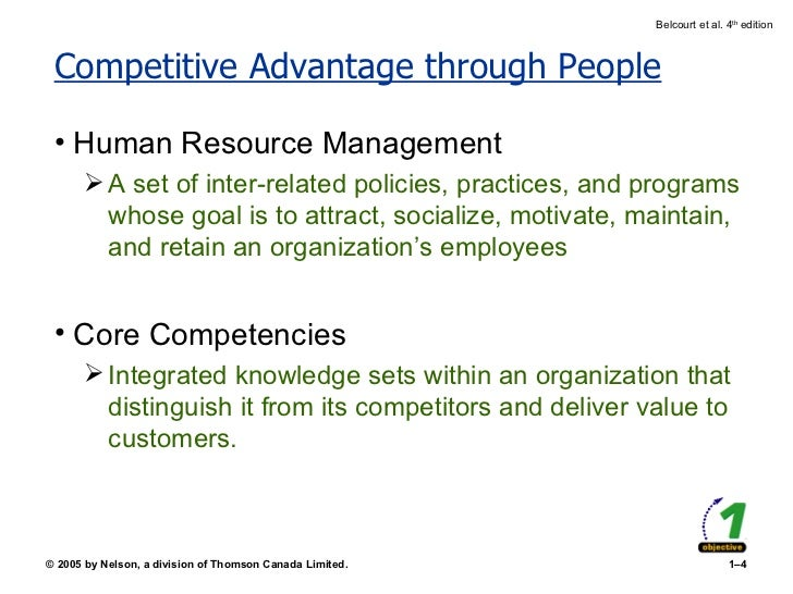 Competitive Advantage through People <ul><li>Human Resource Management </li></ul><ul><ul><li>A set of inter-related polici...