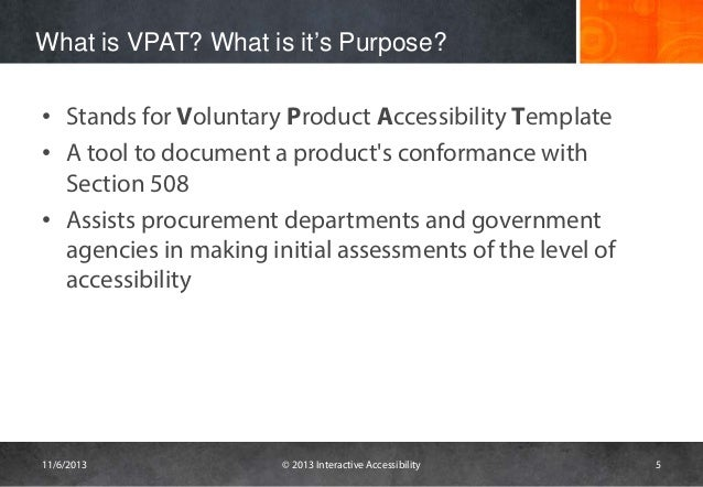 voluntary product accessibility template section 508 - challenges with vpats