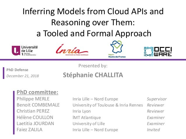 Inferring Models from Cloud APIs and Reasoning over Them: a Tooled and Formal Approach Presented by: Stéphanie CHALLITA Ph...