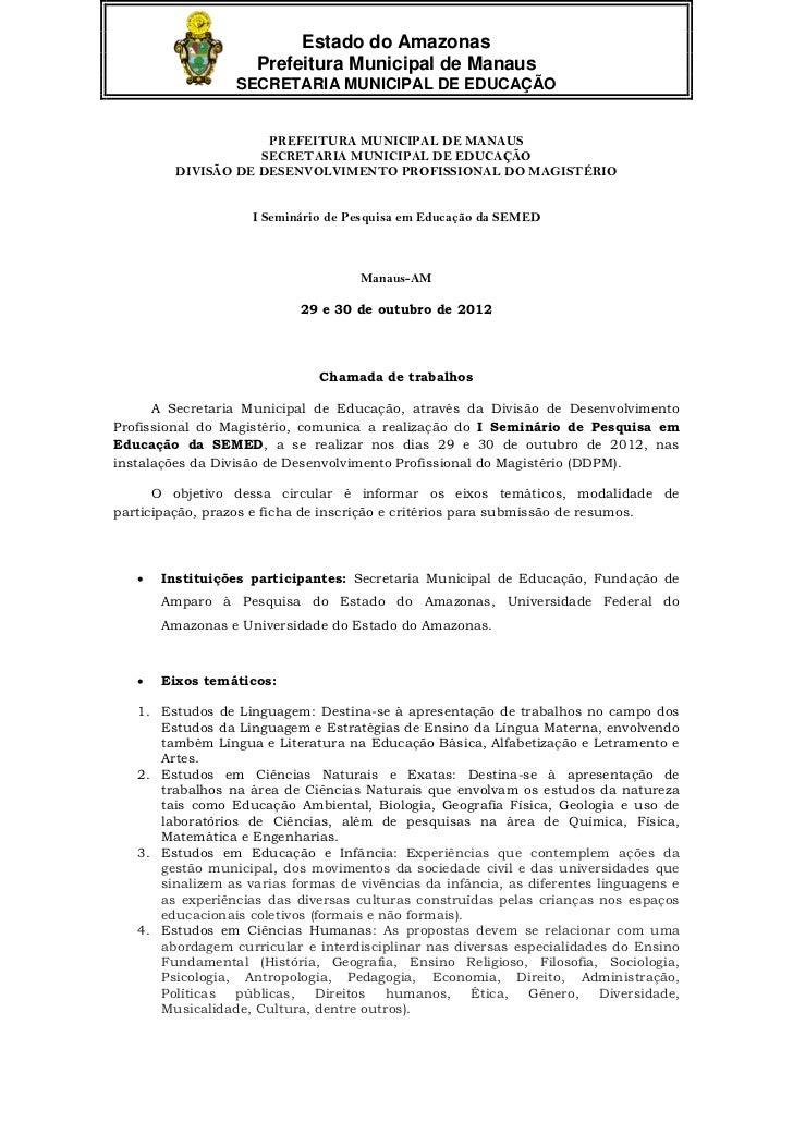 Estado do Amazonas                     Prefeitura Municipal de Manaus                  SECRETARIA MUNICIPAL DE EDUCAÇÃO   ...
