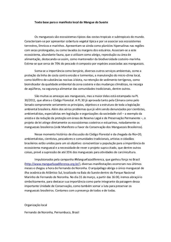 Texto base para o manifesto local do Mangue do Sueste        Os manguezais são ecossistemas típicos das costas tropicais e...