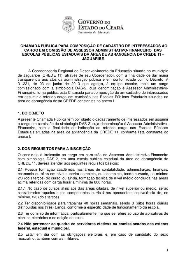 1 CHAMADA PÚBLICA PARA COMPOSIÇÃO DE CADASTRO DE INTERESSADOS AO CARGO EM COMISSÃO DE ASSESSOR ADMINISTRATIVO-FINANCEIRO D...