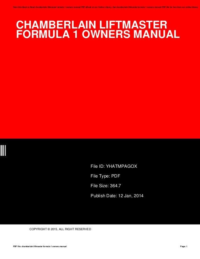 Chamberlain Liftmaster Formula 1 Owners Manual Manual Guide