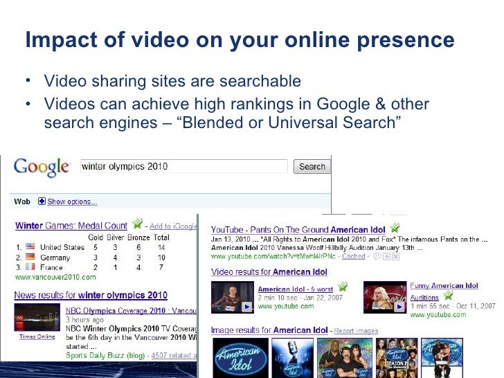 Impact of video on your online presence <ul><li>Video sharing sites are searchable </li></ul><ul><li>Videos can achieve hi...