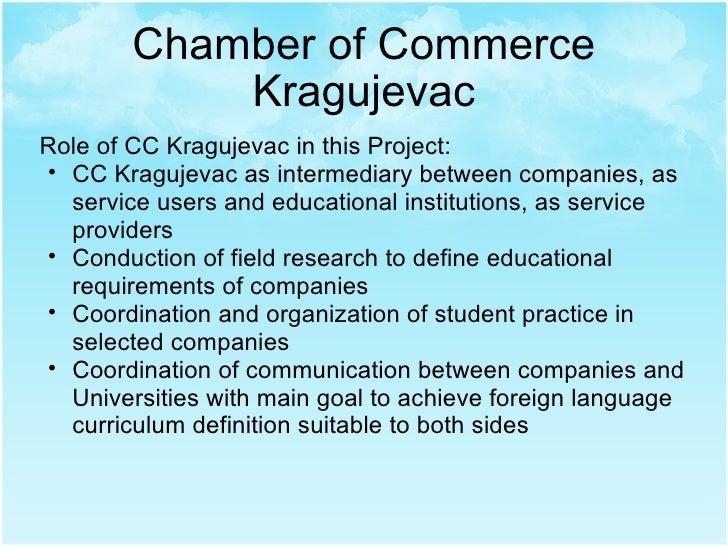 Chamber of Commerce Kragujevac <ul><li>Role of CC Kragujevac in this Project: </li></ul><ul><ul><li>CC Kragujevac as inter...