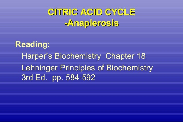 CITRIC ACID CYCLECITRIC ACID CYCLE -Anaplerosis-Anaplerosis Reading: Harper's Biochemistry Chapter 18 Lehninger Principles...
