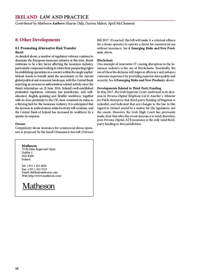 IRELAND Law and Practice Contributed by Matheson Authors: Sharon Daly, Darren Maher, April McClements 14 8. Other Developm...