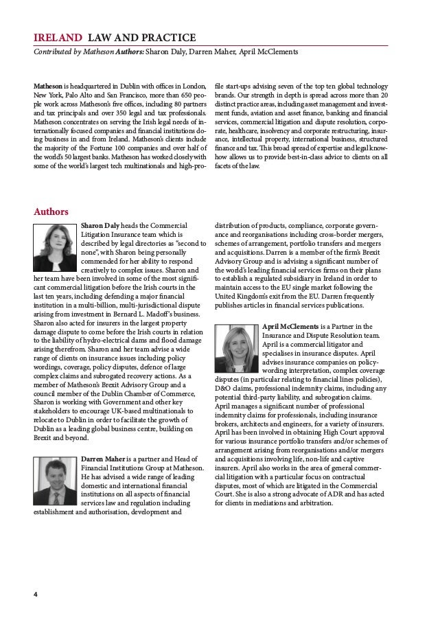 IRELAND Law and Practice Contributed by Matheson Authors: Sharon Daly, Darren Maher, April McClements 4 Matheson is headqu...