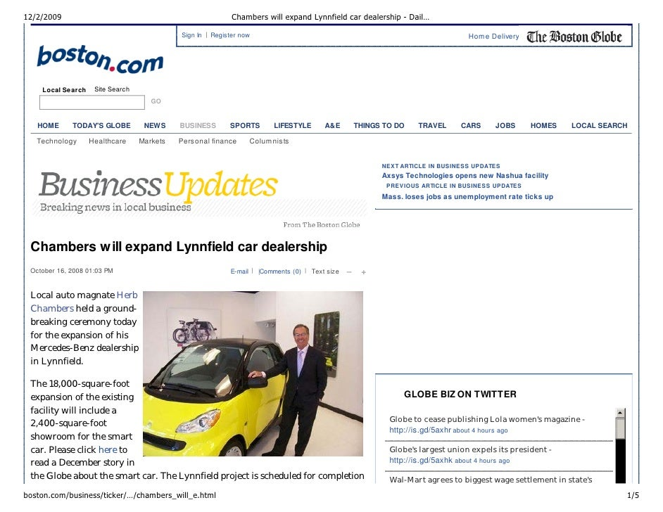 12/2/2009                                                   Chambers will expand Lynnfield car dealership - Dail…         ...