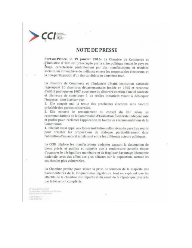 Note de presse de la chambre de commerce et d 39 industrie d for Chambre de commerce de l industrie