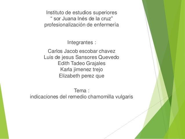"""Instituto de estudios superiores """" sor Juana Inés de la cruz"""" profesionalización de enfermería Integrantes : Carlos Jacob ..."""