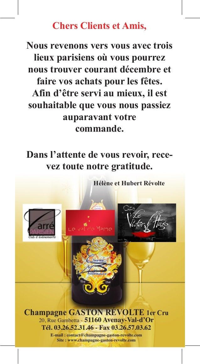 Chers Clients et Amis,Nous revenons vers vous avec trois lieux parisiens où vous pourreznous trouver courant décembre et  ...